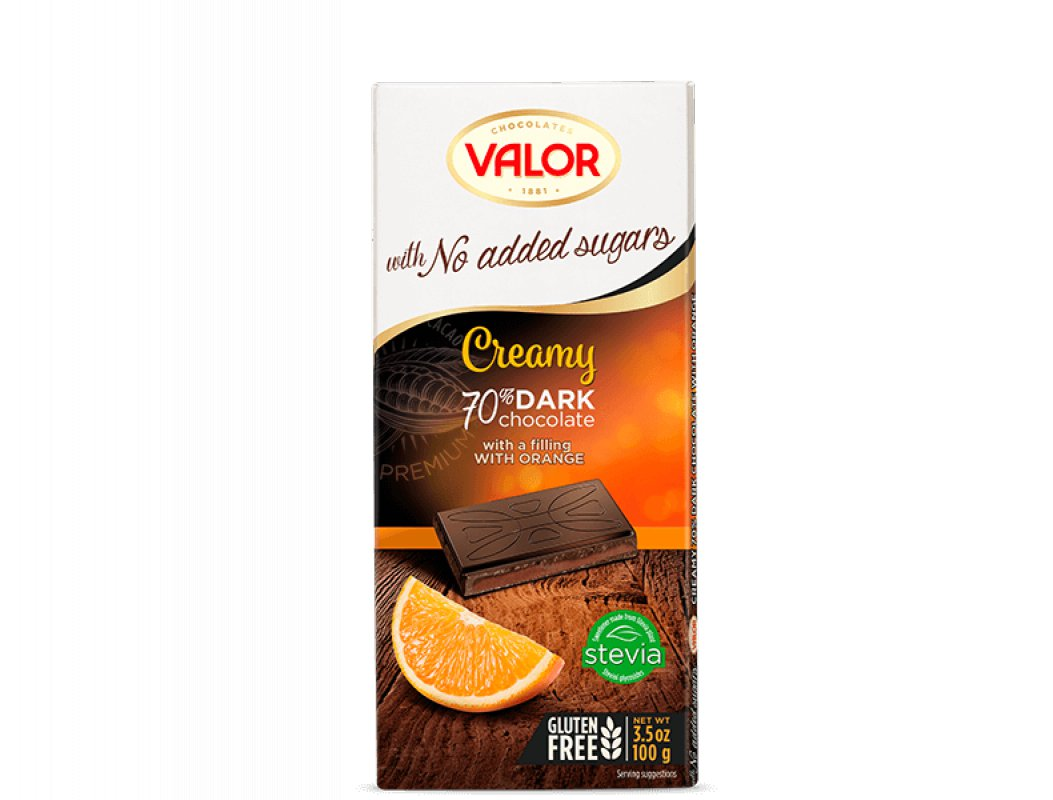 tablette chocolat noir 70 fourr de mousse l 39 orange valor 100g. Black Bedroom Furniture Sets. Home Design Ideas