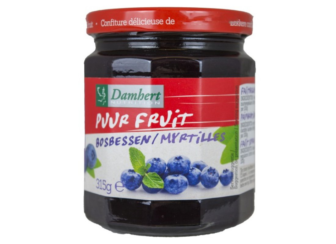 Confiture aux myrtilles pur fruit  Damhert 315g