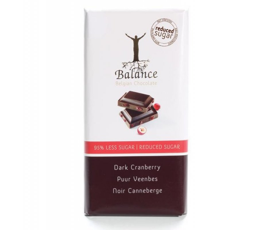 Tablette chocolat noir et cranberries au maltitol - 85 g - Balance